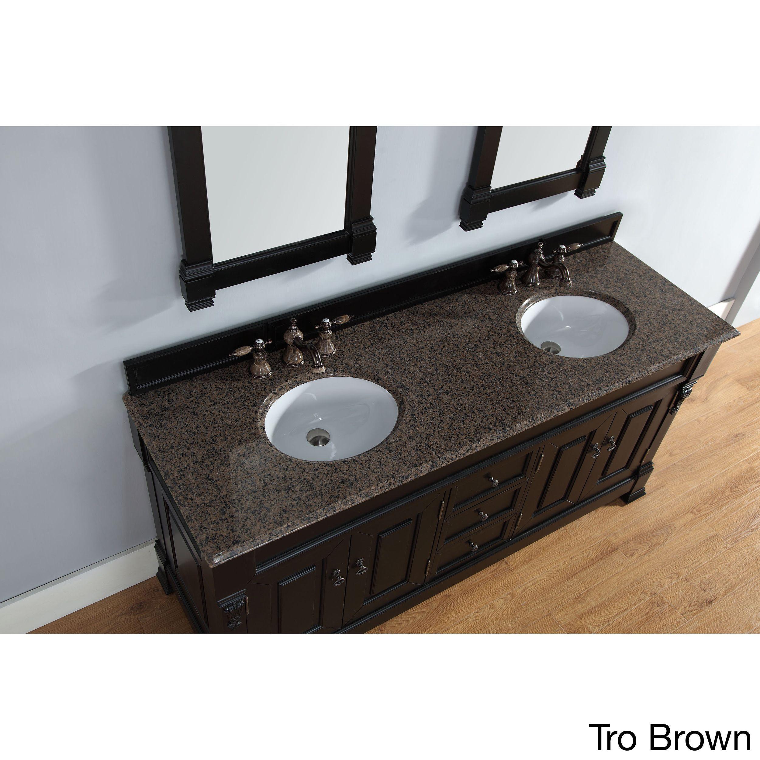 James Martin Furniture 72-inch Brookfield Antique Black Double Vanity (72 Dbl Blk Van - Tro Brw Top), Size Double Vanities