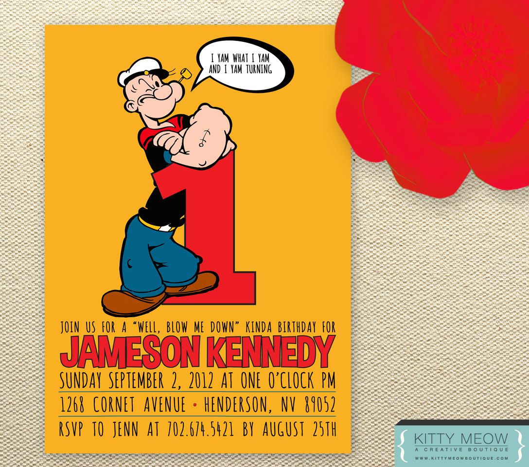DIY Popeye the Sailor Man Birthday Invites | Popeye The Sailor ...