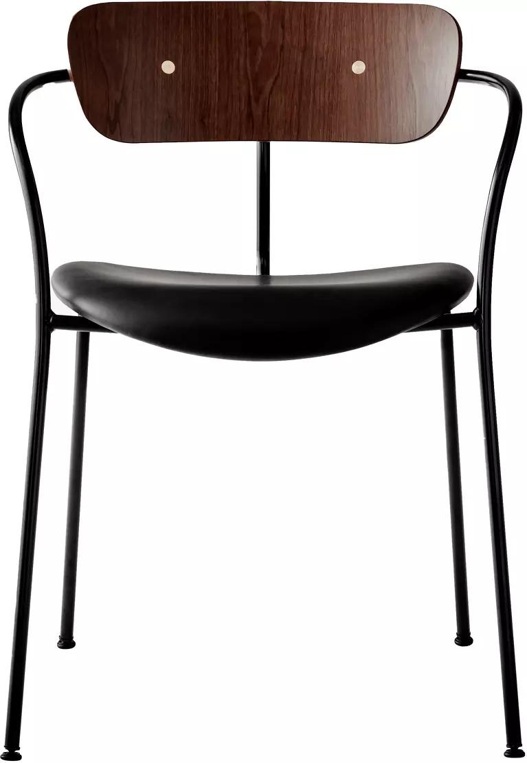 Chaise avec accoudoirs en cuir et noyer AV5 Pavilion - &tradition