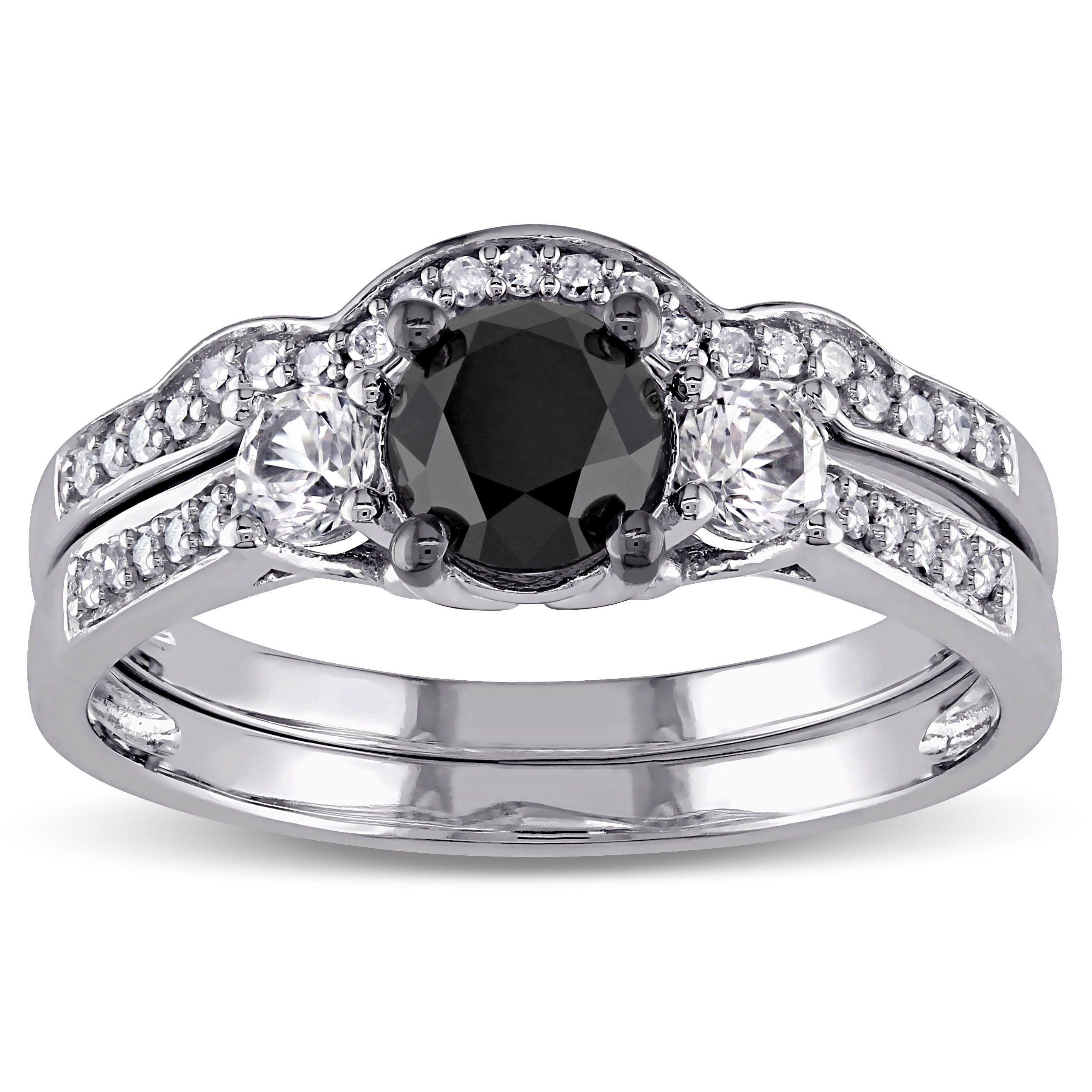 Miadora 10k White Gold Created Shire And 7 8ct Black Diamond Bridal Ring Set G H I2 I3 Size 10