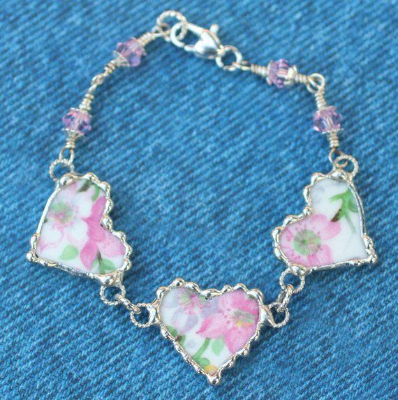 Broken China Jewelry Bracelet China Heart by Robinsnestcreation1