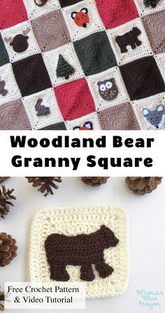 woodland bear applique woodland granny square afghan series free rh pinterest com