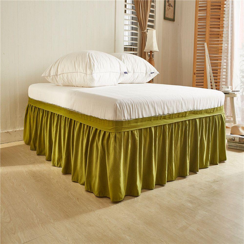Olive Green Bed Skirt Shabby Chic Bedding Natural Colors Etsy Green Bedding Shabby Chic Bedding Chic Bedding Green bed skirt queen