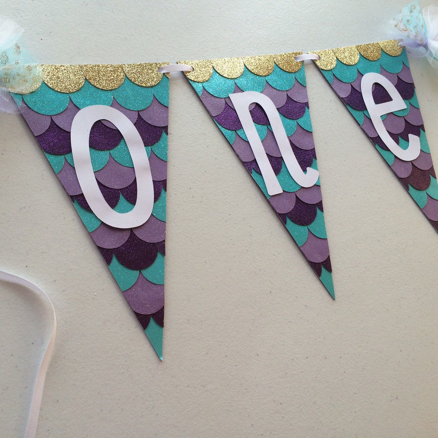 one mermaid inspired high chair banner it s sparkly and sooo