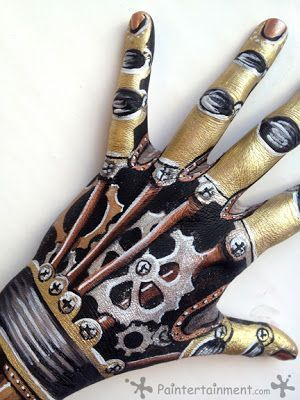 Steampunk Makeup Guide: Special FX Robot Gear Hand Tutorial (Body Paint) - For costume tutorials, clothing guide, fashion inspiration photo gallery, calendar of Steampunk events, & more, visit SteampunkFashionGuide.com