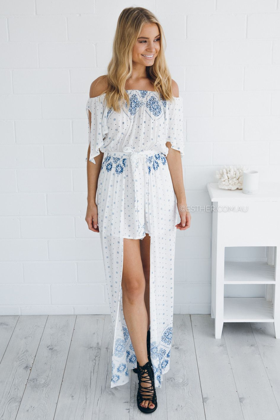 anastasia maxi playsuit - white/blue | Esther clothing Australia and America USA, boutique online ladies fashion store, shop global womens wear worldwide, designer womenswear, prom dresses, skirts, jackets, leggings, tights, leather shoes, accessories, free shipping world wide. – Esther Boutique