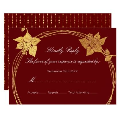 RSVP Burgundy Maroon Gold Floral Wreath Red Card
