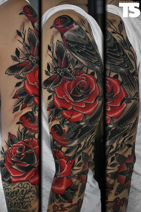 Birds Roses Stefan Johnsson At Lovedog Tattoos Santa Cruz Ca