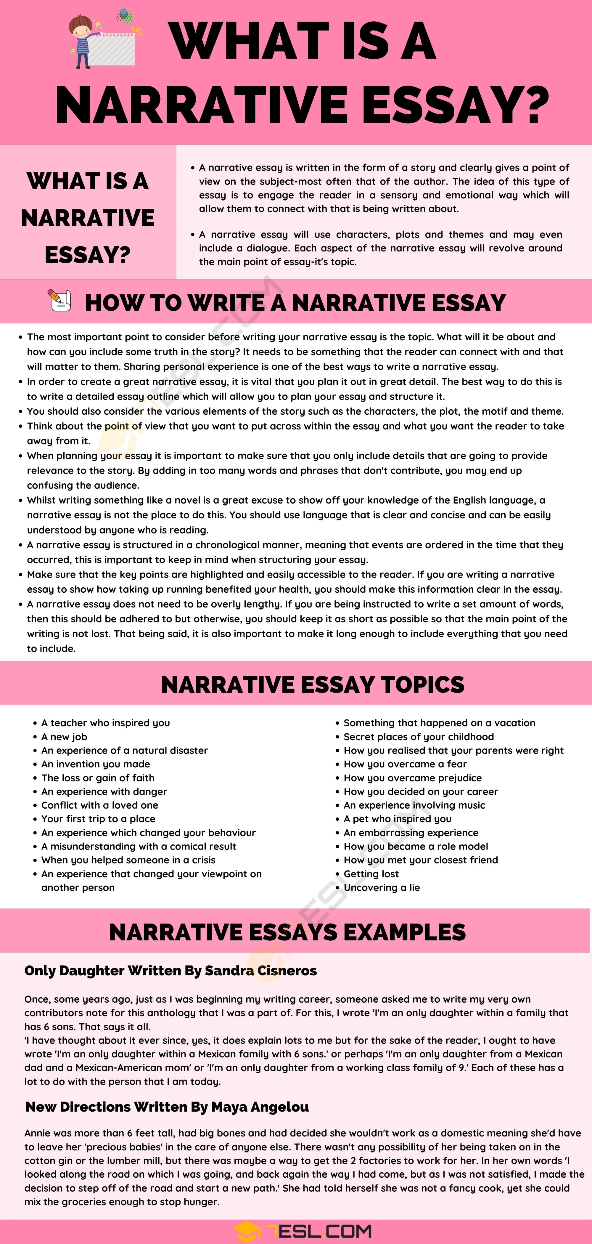 What I A Narrative Essay Example And Writing Tip 7esl Skill Examples Topics