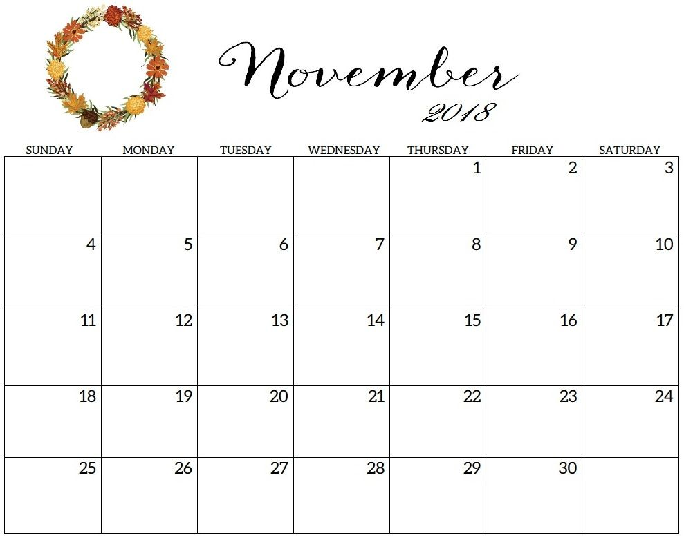 November 2018 Calendar Printable Template Calendar Printables