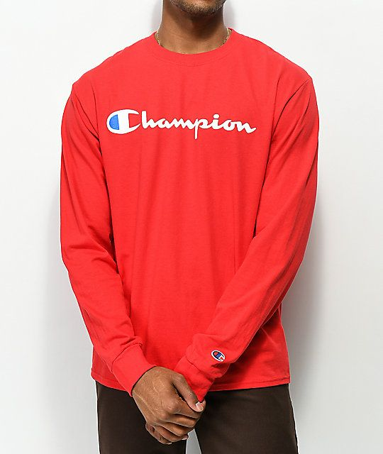 6165a1aa Champion Script Red Long Sleeve T-Shirt in 2019 | Style | Sleeves ...