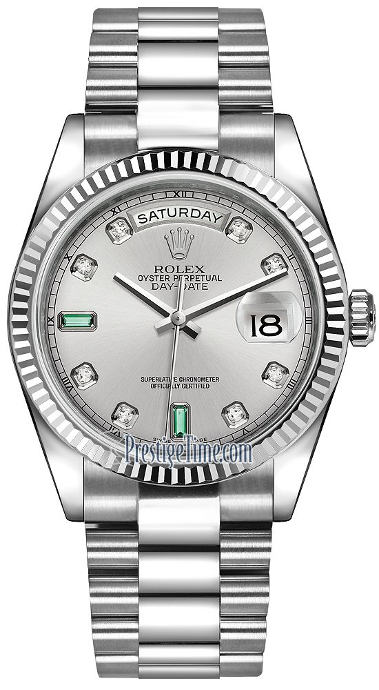 73424ab3123 Rolex Day-Date 36mm White Gold Fluted Bezel 118239 Rhodium Diamond Emerald  President