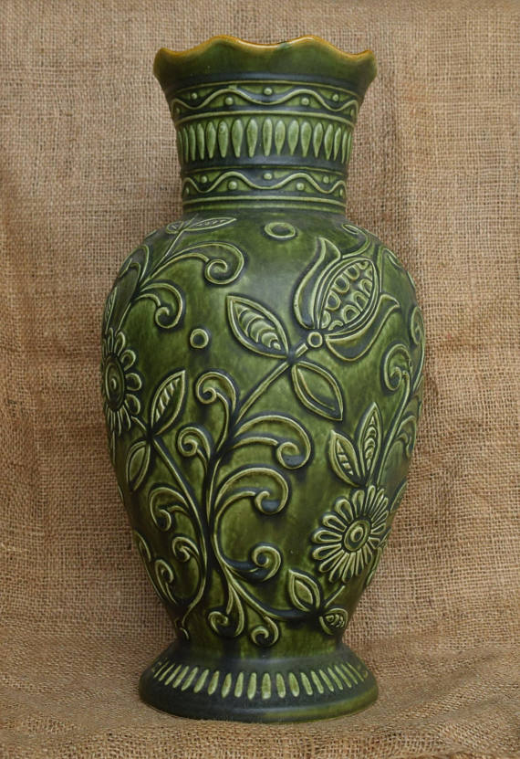 Vintage Bay Pottery Green Floor Vase Made In West Germany Circa