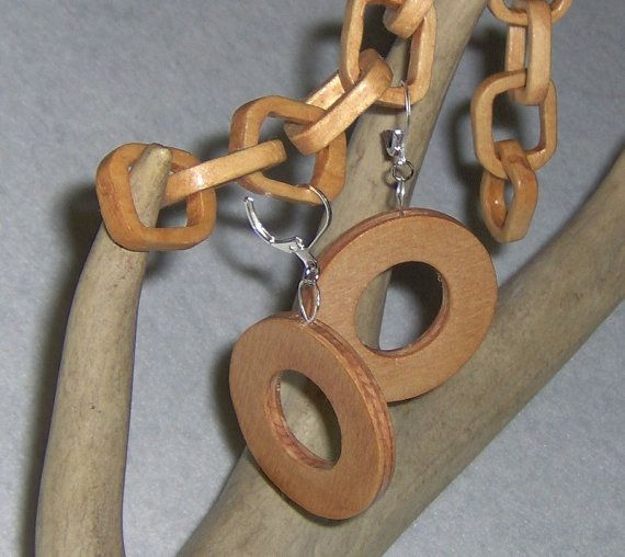 Handcarved Wood Earrings  Thick Round Circles by HandCraftedMinds
