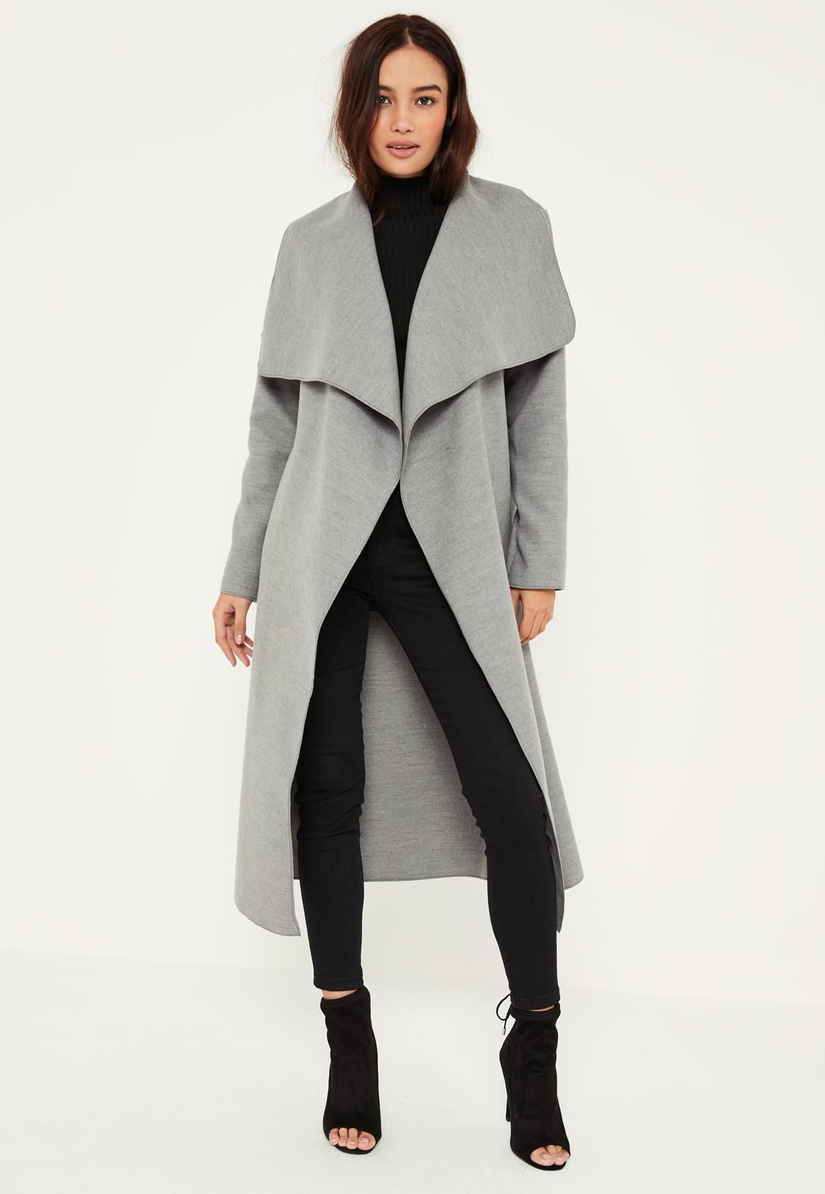 e4f6fe57c928 Missguided - Petite Grey Oversized Waterfall Duster Coat | Bundle Up ...