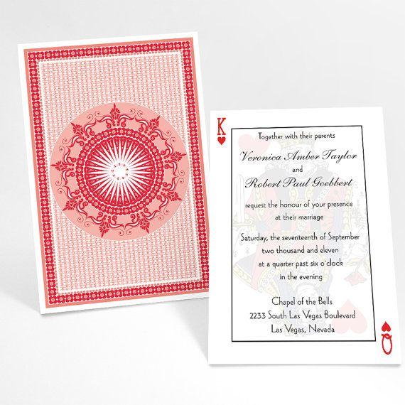 Casino Wedding Invitations: Casino Theme Invitation Suite- Playing Cards Poker Theme