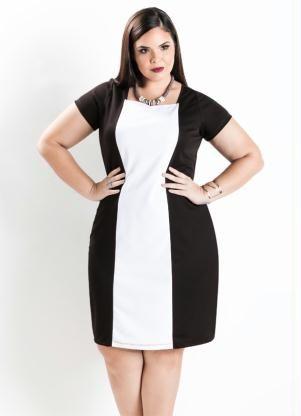 b5c9dd8f6ab Vestido Tubinho Bicolor (Preto e Branco) Plus Size