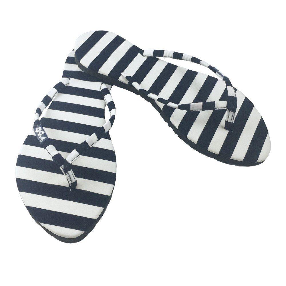 Navy Nautical Striped Flip Flops