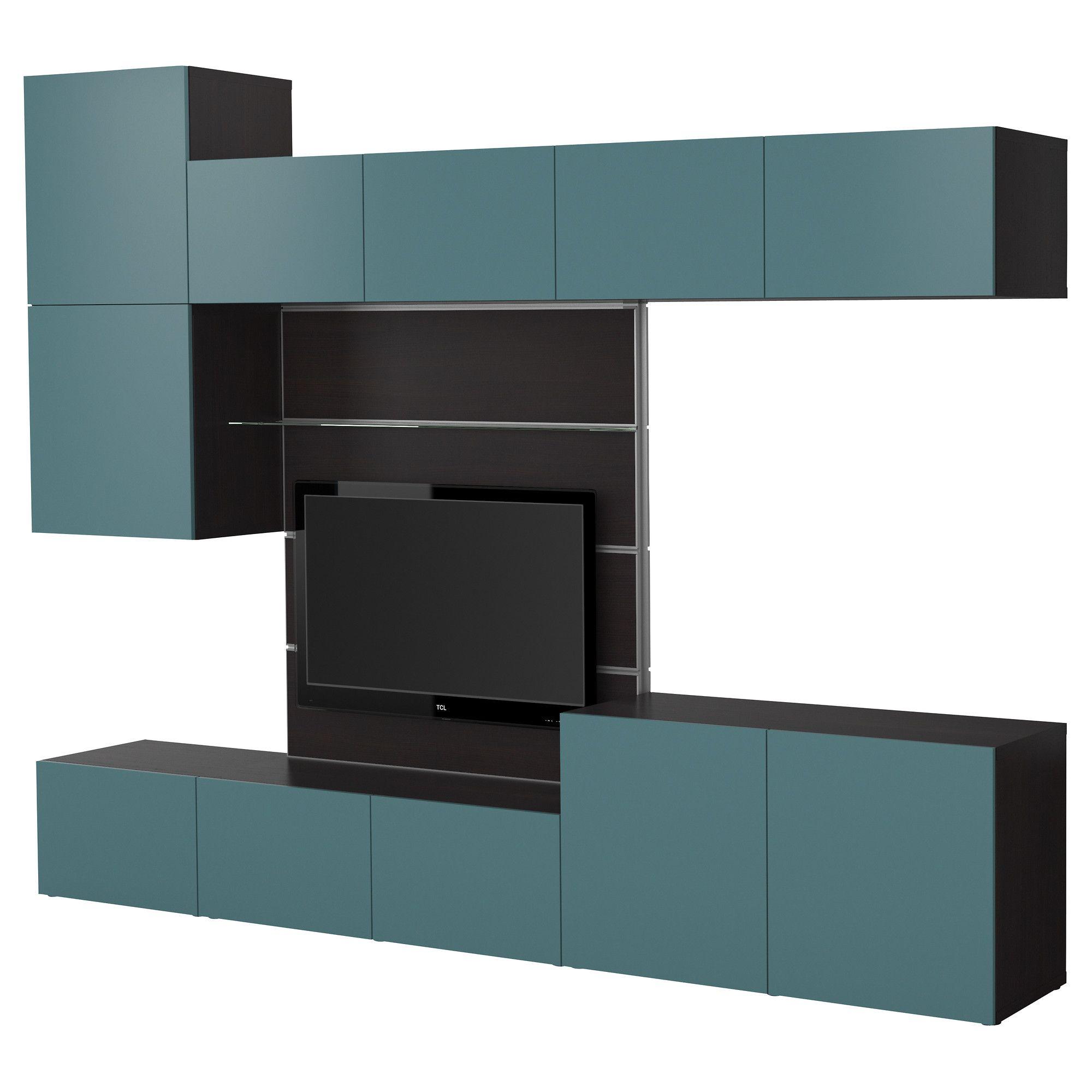Ikea Framsta bestå framstå tv storage combination black brown gray turquoise