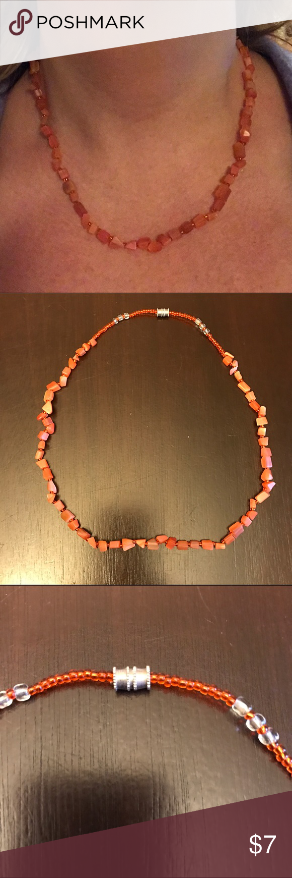 Beautiful beaded coral colored necklace Very nice necklace for summer . Worn once , it's coral colored and about 18 1/2 inches in overall length . Twist closure Jewelry Necklaces