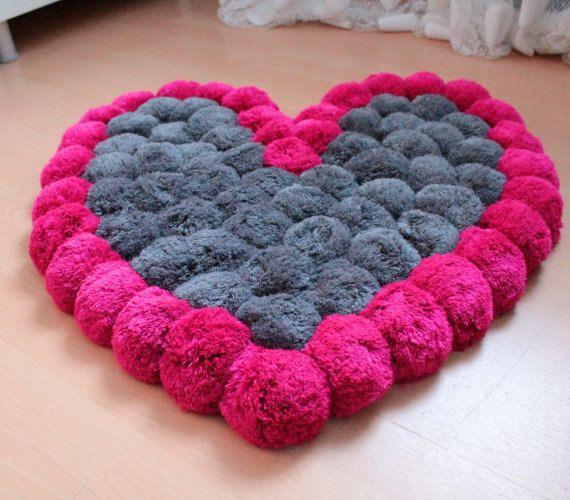 Heart Rug Pom Pom Rug Pink Rug Soft Area Rug от