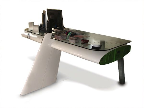 yes deborah is a desk created from an aluminium aeroplane wing rh pinterest com