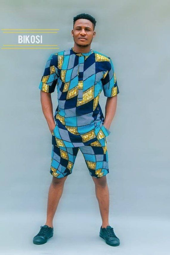 0ee633f11be8 Ankara Two Piece Shirt and Shorts for Men, African Outfits for Men, The  Bolaji Set.