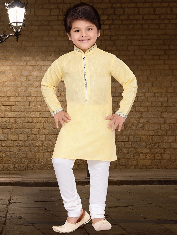 ff8ded28a0 Solid Cotton Silk Yellow Kurta Suit   Boys Indian Fashion Wear ...