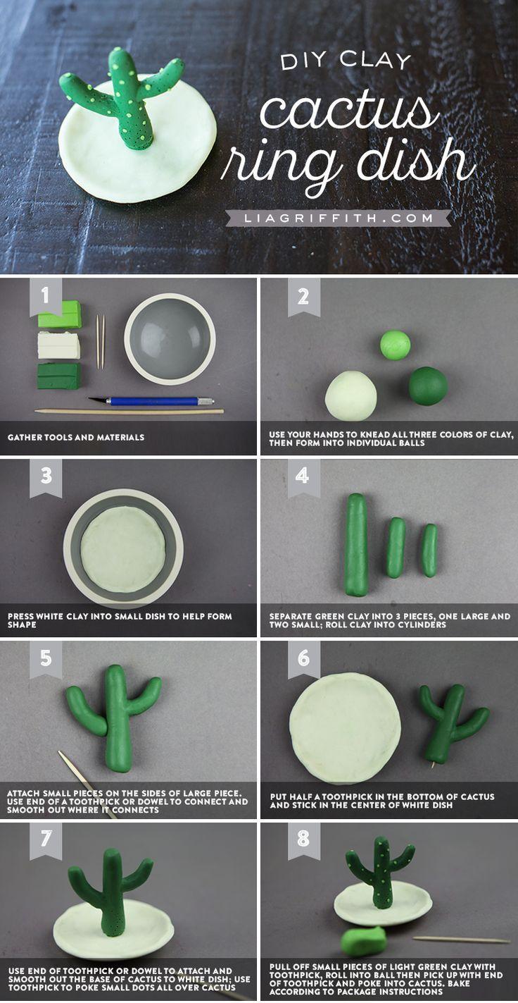 Machen Sie diesen unglaublich niedlichen DIY Ton Kaktus Ring Halter!