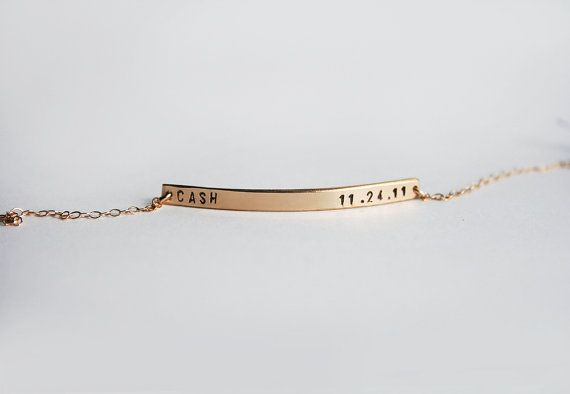 Skinny bar bracelet  Personalized nameplate bracelet  by shopLUCA, $47.00