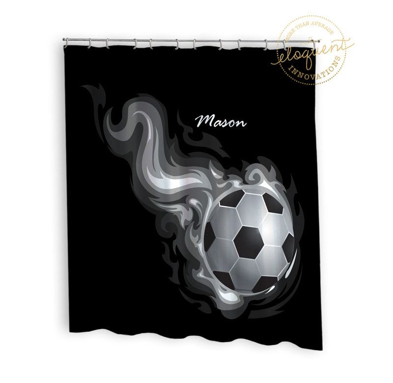 Soccer Shower Curtain Sports Black And White Soccer Shower