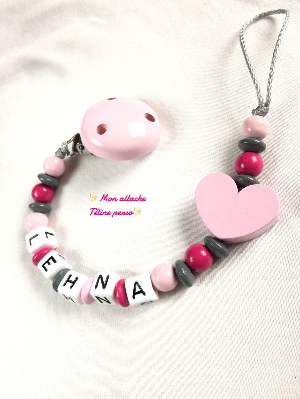 ♥ chaîne de tétine avec nom ♥ hibou gris avec coeur ♥ fait main ♥ fille ♥ Baby
