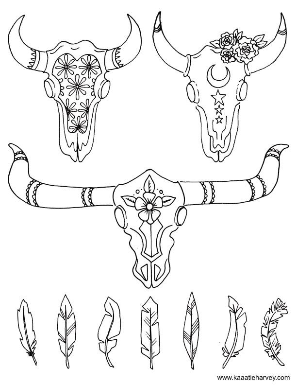 Cow Skull Coloring Book Page By Katie Harvey Skull Coloring