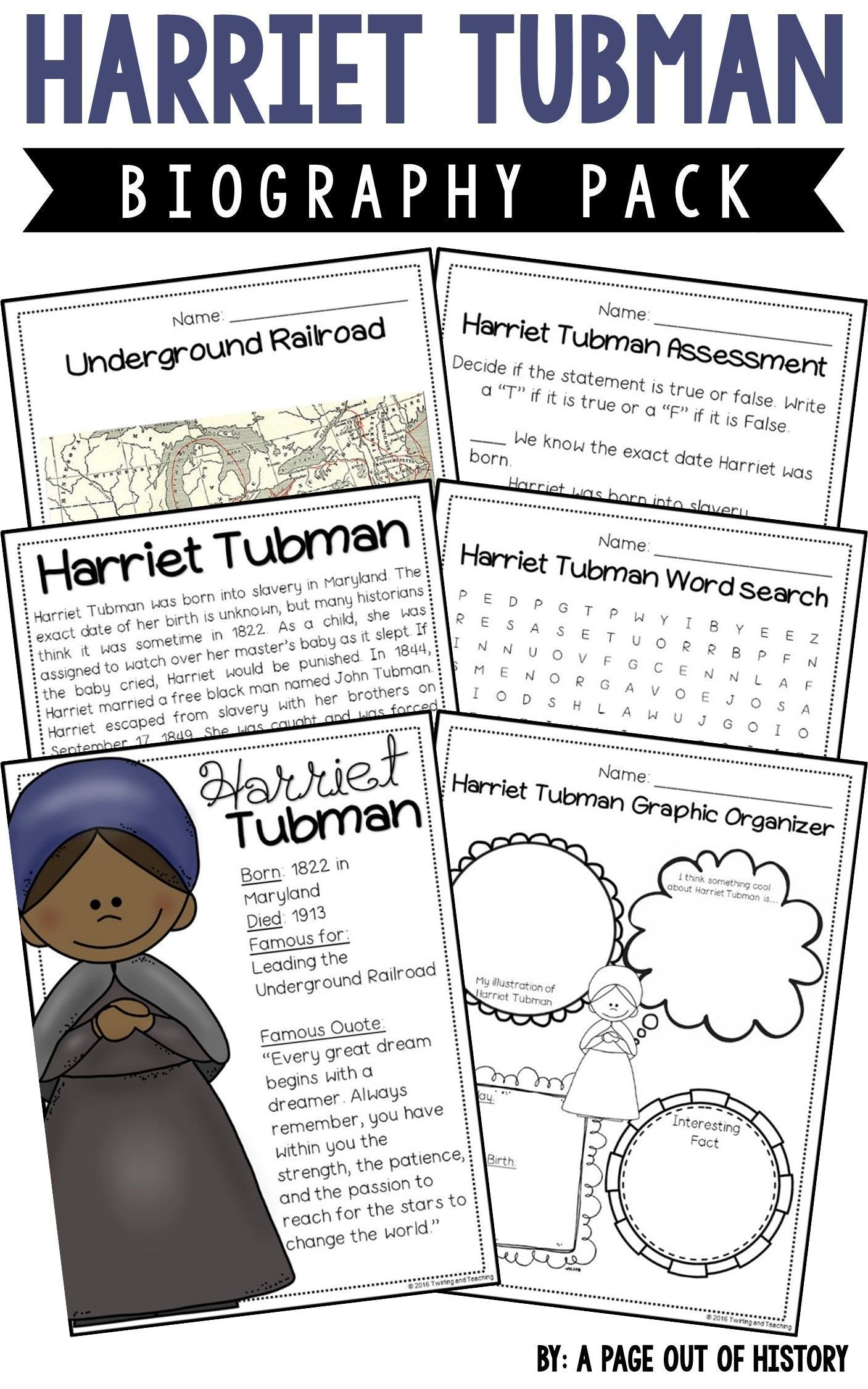 Harriet Tubman Biography Pack Black History Month