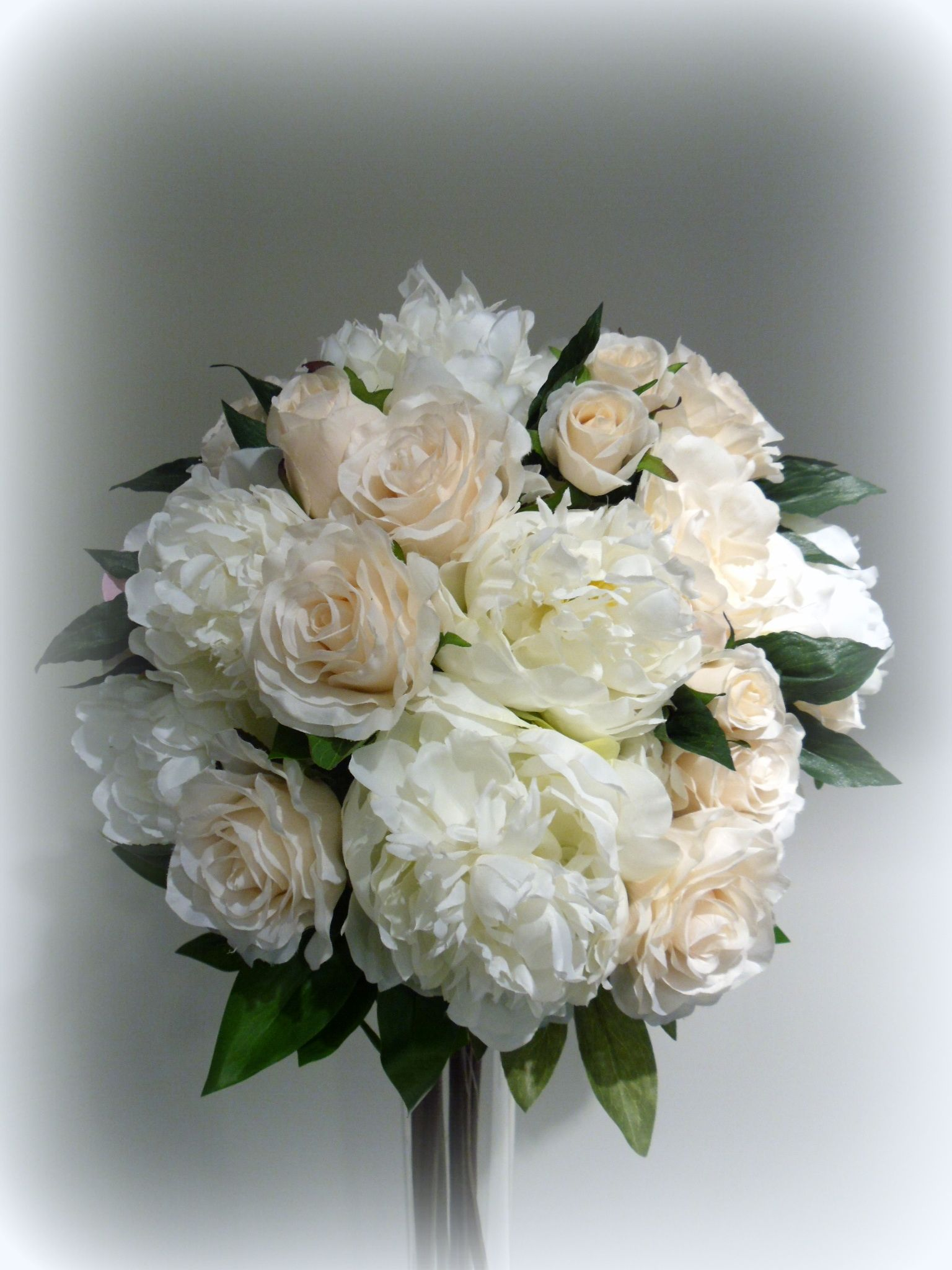 White Peonies And Champagne Roses All Artificial Flowers From Www Florabunda Co Nz Artificial Flowers Wedding Flowers Fake Flowers