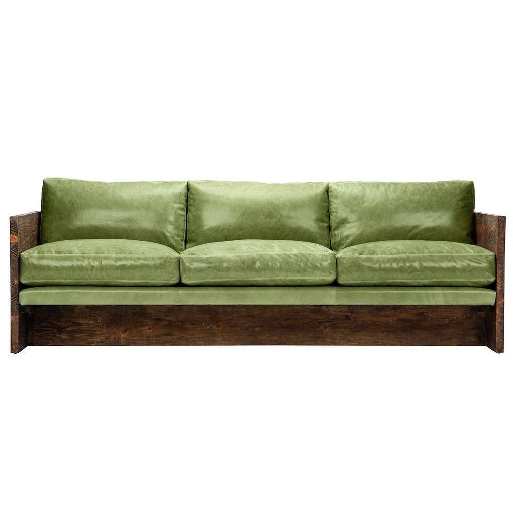 84 L Restoration Style Industrial Genuine Top Grain Green Leather