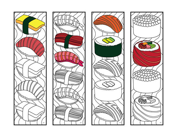 Sushi Bookmarks Pdf Zentangle Coloring Page Coloring Pages