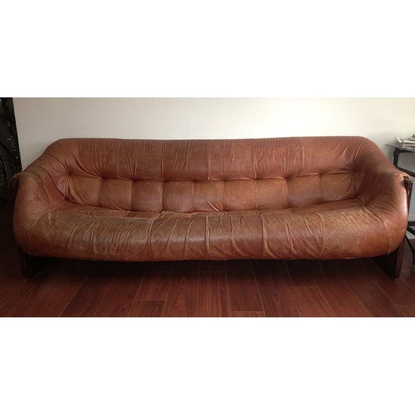 mid century modern leather couch. Mid-century Modern Leather Rosewood Couch, Lafer Mid Century Couch -
