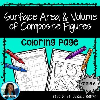 Volume And Surface Area Of Composite Figures Coloring Page 7th