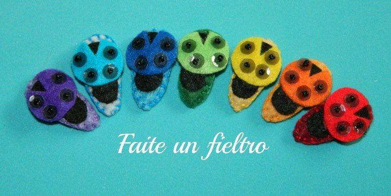 FAITE UN FIELTRO  Pincitas de fieltro de margarita/ Mini clip daisy