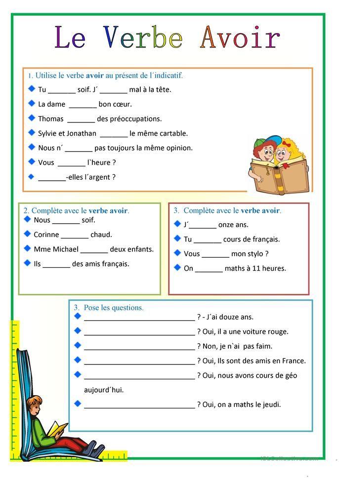 Avoir   Exercices conjugaison, Verbe avoir et Exercice verbe
