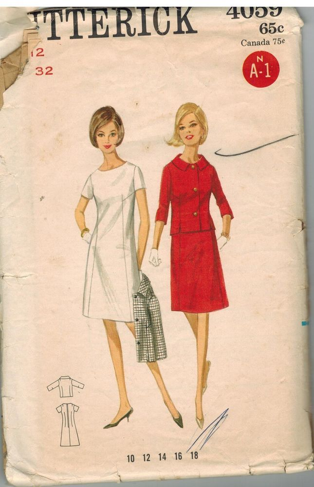 4059 Vintage Butterick Sewing Pattern Misses A Line Semi Fitted ...