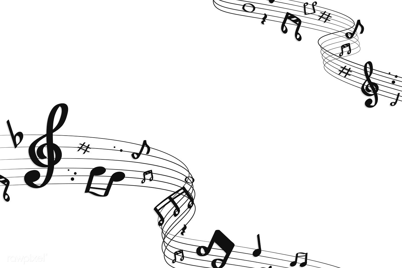 Black Flowing Music Notes On White Background Vector Free Image