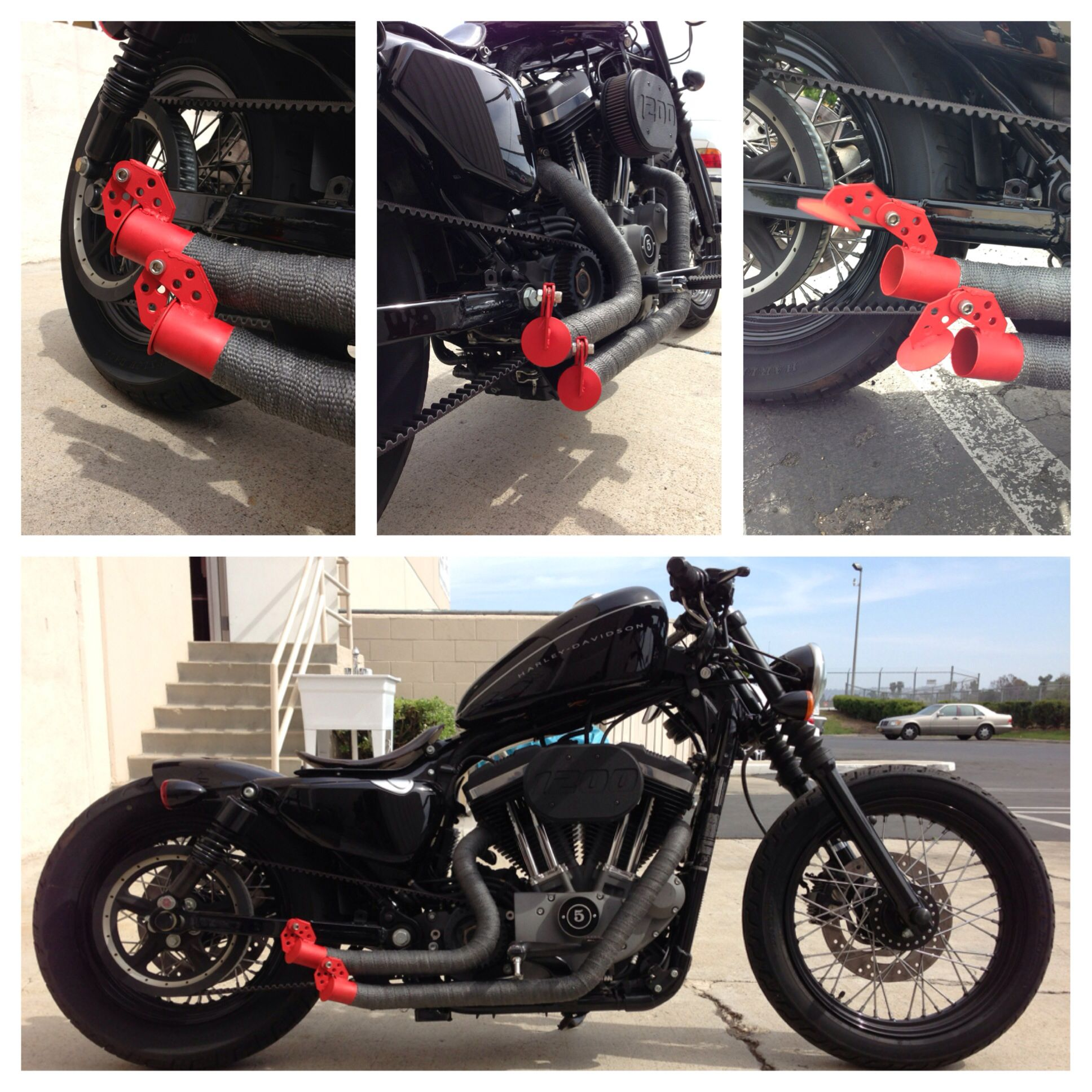 Flapper exhaust on Harley Davidson Nightster bobber
