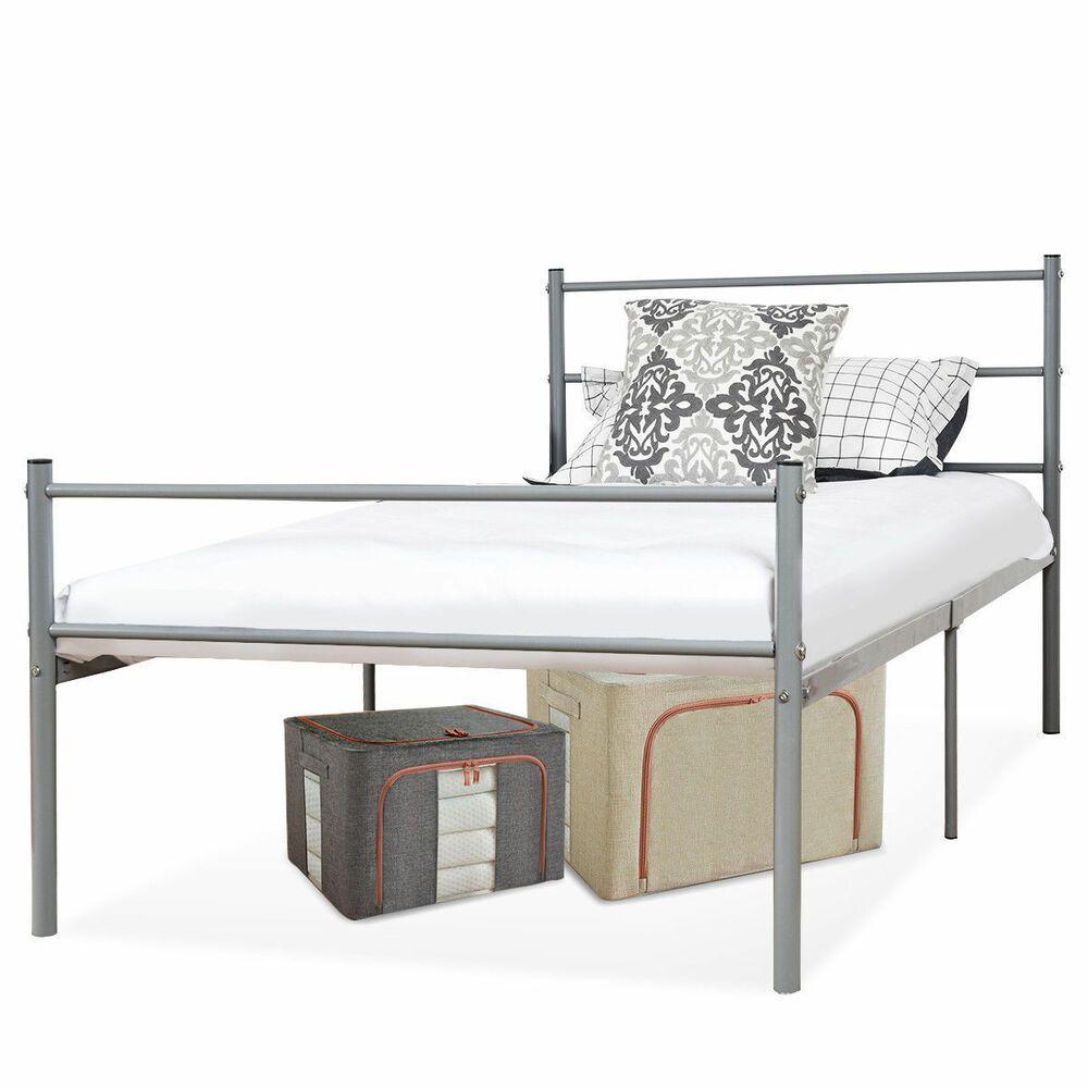 Metal Bed Frame Twin Size Platform Six Legs Headboards Bedroom