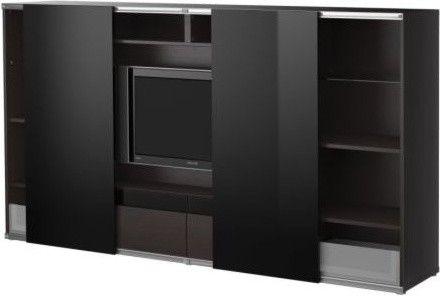 bestinreda tv storage combo with sliding doors modern media storage