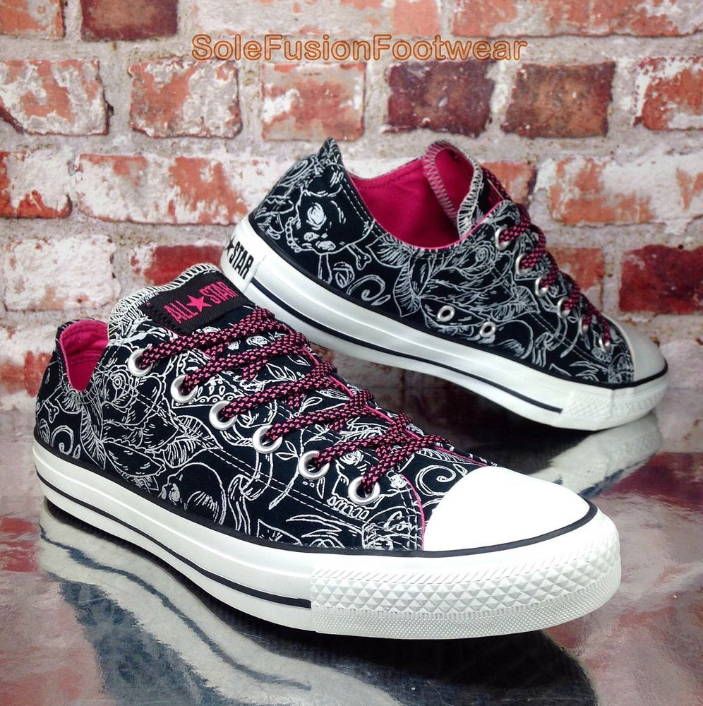 44d0919f2520 Converse Womens All Star Floral Trainers Black Pink sz 8 Shoes Sneakers  41.5 10