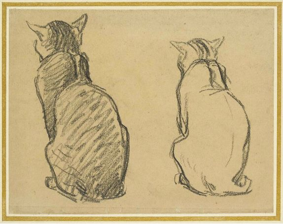 Two Studies of a Cat - Théophile-Alexandre Steinlen. Théophile Alexandre Steinlen, frequently referred to as just Steinlen (November 10, 1859 – December 13, 1923), was a Swiss-born French Art Nouveau painter and printmaker.