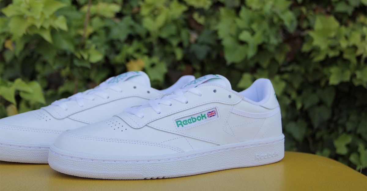 71ede348bc3 Reebok Club C 85 AR0456 White   Green Leather Upper Padded Foam Sockliner  EVA Midsole High Abrasion Rubber Outsole Width  Medium