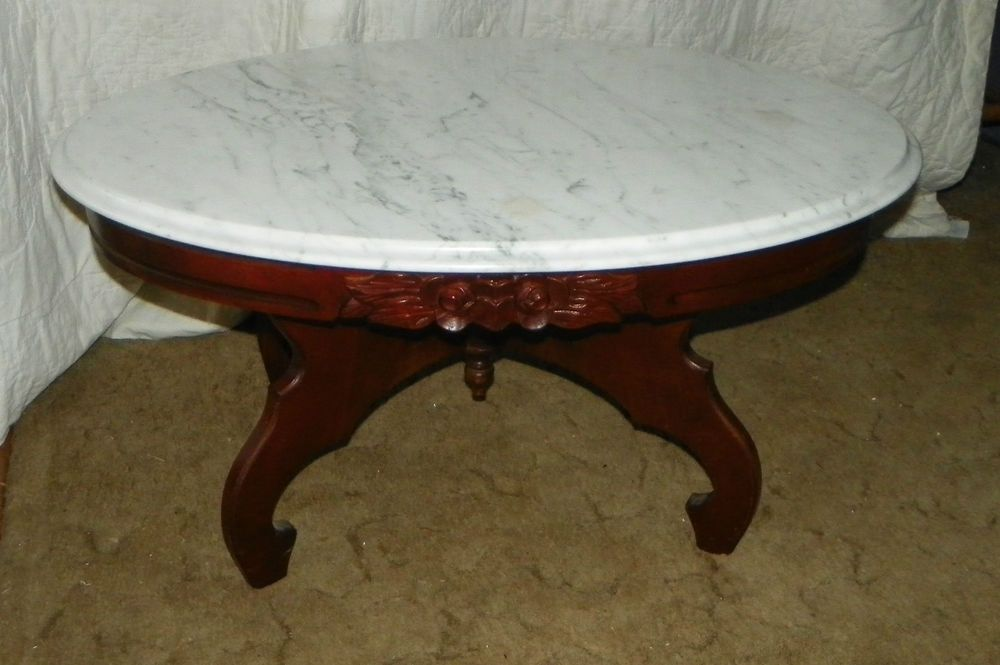 Mahogany Rose Carved Oval Marble Top Coffee Table by Kimball CT47